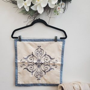"""Other - Blue Cream Silk Pillow Cover Embroidery 14"""" Square"""